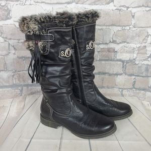 S.Oliver Winter Tall Leather Boots Lined Fauz Fur Size 38 US 7
